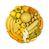 Circle of yellow fruits and vegetables Stock Photo