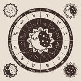 Circle of the zodiac Stock Images