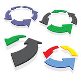 Circled arrows set Stock Images