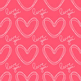 Circled the contour hearts. Romantic seamless vector pattern for Valentine's Day or wedding. Stock Images