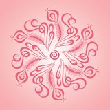 Circled leaf vector illustration with centered dreams time logo in pinkish tone royalty free illustration