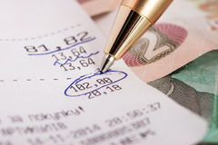 Circled number on the check. Circled number one hundred and two on the check Royalty Free Stock Photos