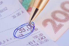 Circled number on the check. Circled number thirty nine on the check Stock Photos