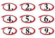 Circled numbers, one to nine Royalty Free Stock Photo