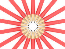 Circled Pencils. Red circled pencils in a row on white background Royalty Free Stock Images
