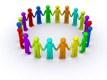 Circled of people. Circle of people holding hands Royalty Free Stock Image