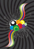 Circles. Colored circles and stripes in black background Stock Illustration