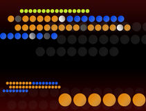 Circles. Many blue yellow and orange  circles  over brown  background Stock Photos