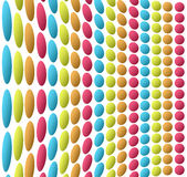 Circles. Blue yellow orange and  fuchsia  circles  over white background Royalty Free Stock Images
