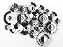 Circles. 3d abstract background Black and White  circles Royalty Free Stock Photos
