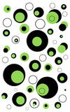Circles Abstract Background. Lime Green, Black, and White Circles of different sizes on a White Background royalty free illustration