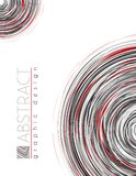 Circles. Abstract template with black, red and gray thin strips. Circles. Abstract template of page with black, red and gray thin strips. Vector graphic design royalty free illustration