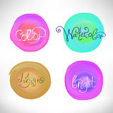 Circles abstract watercolor splash design elements Royalty Free Stock Photography