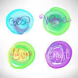 Circles abstract watercolor splash design elements Royalty Free Stock Photo