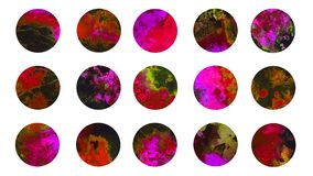 Circles abstract watercolordark red marble texture splashes. Circles abstract grunge watercolor dark red marble texture splashes collection, isolated set hand royalty free illustration