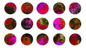 Circles abstract watercolordark red marble texture splashes. Circles abstract grunge watercolor dark red marble texture splashes collection, isolated set hand Royalty Free Stock Photos