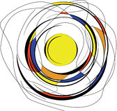 Circles abstraction. Red blue yellow colors in abstract circles Stock Illustration