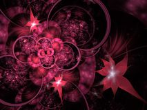 Free Circles And Spikes Abstract Background. Soft Glowing Layered Flower Petals Pattern. Sparkle Effect, Computer Generated, Fractal Royalty Free Stock Photo - 168441165