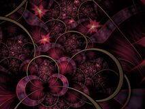 Free Circles And Spikes Abstract Background. Soft Glowing Layered Flower Petals Pattern. Sparkle Effect, Computer Generated, Fractal Stock Photos - 170473323