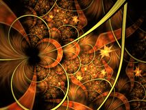 Free Circles And Spikes Abstract Background. Soft Glowing Layered Flower Petals Pattern. Sparkle Effect, Computer Generated, Fractal Stock Photography - 171005642