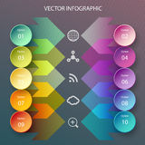 Circles and arrows infographic. Modern vector circle and arrows infographic elements in bright colors Royalty Free Stock Photos