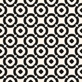 Circles background, vector black and white texture. Geometric seamless pattern stock illustration
