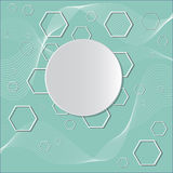 Circles on blue background with polygons Royalty Free Stock Photo