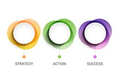 3 circles business presentation concept. 3 steps diagram information template for business.  Stock Photography