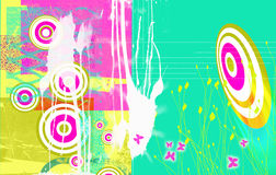 Circles and butterflies. Bright Landscape format grunge styled background image, with dayglow pink and green circles, splashes,butterflies etc. Ideal web base stock illustration