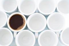 Circles. Circular white cups with coffee Stock Photos