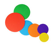 Circles color paper isolated on white Stock Photos