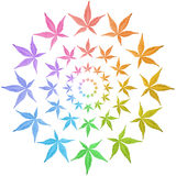 Circles of colorful leaves isolated on white. Leaves in rainbow colors stock illustration
