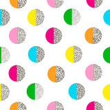 Circles colorful seamless pattern. Bright background. 80's - 90's years design style. Trendy Royalty Free Stock Images