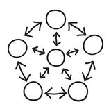Circles connected with arrows Stock Photo