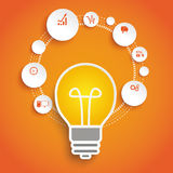 Circles Cycle Bulb Orange Infographic Stock Image