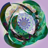 RETRO STYLE INDIAN FLOWER MANDALA WITH CIRCLES AROUND, IN DARK GREEN, FLOWER IN THE BACK IN PASTEL COLORS stock photo