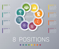 Circles diagram Elements Template infographics 8 positions Royalty Free Stock Photography
