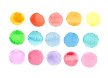 The circles with different colors of watercolor. Watercolor circles isolated on white background. Colorful hand painted set Stock Photography
