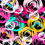 Circles drawn by hand graffiti on a black background Royalty Free Stock Photography