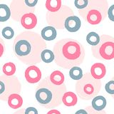 Circles drawn by hand with rough brush. Cute geometric seamless pattern. Sketch, watercolor, paint. Endless print for children. Vector illustration stock illustration
