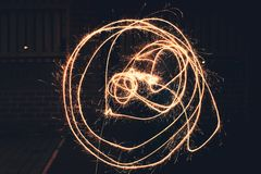 Circles drawn out using a sparkler royalty free stock photo