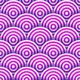 Circles with drop shadows. Seamles pattern of white and purple striped circles with drop shadows. Vector illustration stock illustration