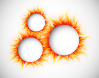 Circles with flames. Background with burning circles. Abstract illustration Stock Image