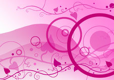 Circles and floral on pink. Retro  pink  background with  floral ornaments Stock Image