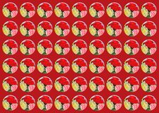 Circles with flowers with different backgrounds on red background royalty free stock photos