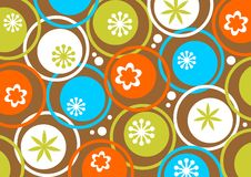 Circles and flowers pattern royalty free stock photo