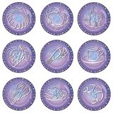 Circles with food symbols. Blue decorative round circles with food symbols. Also available as EPS-File Royalty Free Stock Images