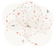 Circles with gray and red arrows Stock Photos