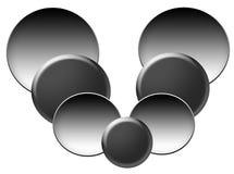 Circles of Grey. Various sizes of grey circles - large, medium and small royalty free illustration