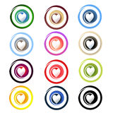 Circles with a Heart Stock Photos